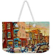 Hockey Game Fairmount And Clark Wilensky's Diner Weekender Tote Bag