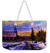 Hockey Game In The Village Weekender Tote Bag by Carole Spandau