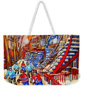 Hockey Game Near The Red Staircase Weekender Tote Bag by Carole Spandau
