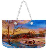 Hockey Game On Frozen Pond Weekender Tote Bag