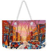 Hockey On Hotel De Ville Street Weekender Tote Bag