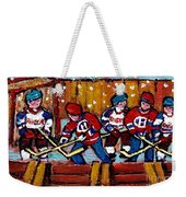 Hockey Rink Paintings New York Rangers Vs Habs Original Six Teams Hockey Winter Scene Carole Spandau Weekender Tote Bag