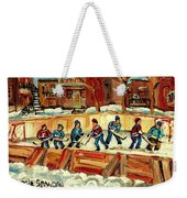 Hockey Rinks In Montreal Weekender Tote Bag by Carole Spandau