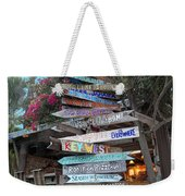 Hogfish Bar And Grill Directional Sign Weekender Tote Bag