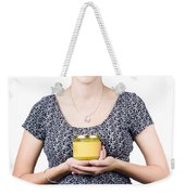 Holistic Naturopath Holding Jar Of Homemade Spread Weekender Tote Bag