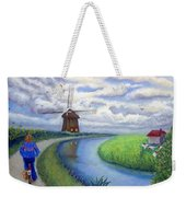 Holland Windmill Bike Path Weekender Tote Bag
