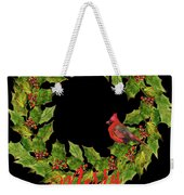 Holly Christmas Wreath And Cardinal Weekender Tote Bag