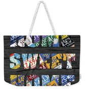 Home Sweet Home Rustic Vintage License Plate Lettering Sign Art Weekender Tote Bag