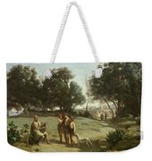 Homer And The Shepherds In A Landscape Weekender Tote Bag by Jean Baptiste Camille Corot