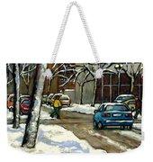 Original Canadian Art For Sale Scenes D'hiver Ville De Montreal Apres La Tempete Montreal Scenes Weekender Tote Bag