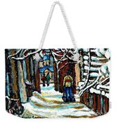 Buy Original Paintings Montreal Petits Formats A Vendre Scenes Man Shovelling Snow Winter Stairs Weekender Tote Bag