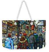 Promenade Au Centre Ville Rue Ste Catherine Montreal Winter Street Scene Small Paintings  For Sale Weekender Tote Bag