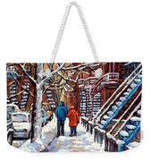 Promenade En Hiver Winter Walk Scenes D'hiver Montreal Street Scene In Winter Weekender Tote Bag