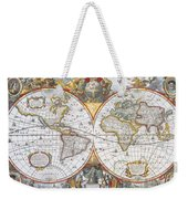 Hondius World Map, 1630 Weekender Tote Bag by Photo Researchers