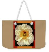 Honey Bee In Stunning White And Gold Flower Weekender Tote Bag