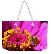 Honey Bee Pollinating Zinnia Weekender Tote Bag