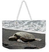 Honu Sleeping On The Shoreline At Punalu'u Weekender Tote Bag