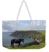 Horse Along Coastal Path Cornwall Weekender Tote Bag