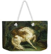 Horse Attacked By A Lion Weekender Tote Bag