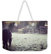 Horses On A Frosty Pasture Weekender Tote Bag