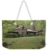 Horse Grazing In The Yard Of A Mountain Weekender Tote Bag