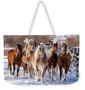 Horse Herd In Snow Weekender Tote Bag
