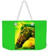 horse portrait PRINCETON yellow green Weekender Tote Bag