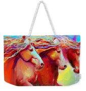 Horse Stampede Painting Weekender Tote Bag