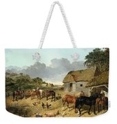 Horses Drinking From A Water Trough, With Pigs And Chickens In A Farmyard Weekender Tote Bag