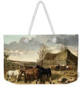 Horses Eating From A Manger, With Pigs And Chickens In A Farmyard Weekender Tote Bag