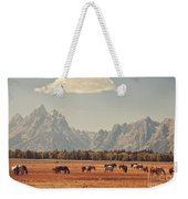 Horses Grazing In Front Of The Teton's Weekender Tote Bag