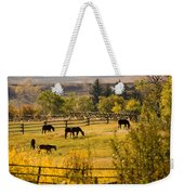 Horses Grazing In The Late Afternoon Weekender Tote Bag