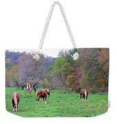 Horses In Autumn Amish Country Weekender Tote Bag