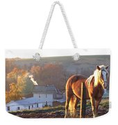 Horses In Autumn Frosty Sunrise Weekender Tote Bag