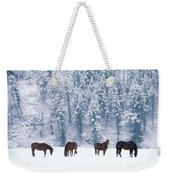 Horses In The Snow Weekender Tote Bag