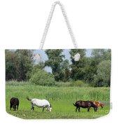 Horses On Pasture Nature Farm Scene Weekender Tote Bag