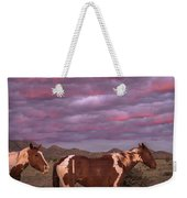 Horses With Southwest Sunset Weekender Tote Bag