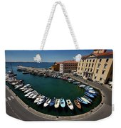 Horseshoe Pattern Of Moored Boats At The Inner Harbour Of Piran  Weekender Tote Bag