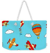 Hot Air Balloons And Airplanes Fly In The Sky Weekender Tote Bag