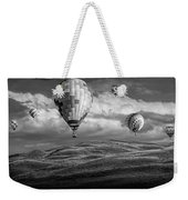 Hot Air Balloons In Black And White Over Fields Weekender Tote Bag