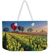 Hot Air Balloons Over Tulip Fields Weekender Tote Bag