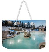 Hot Tubs And Ingound Heated Pool At A Mountain Village In Winter Weekender Tote Bag