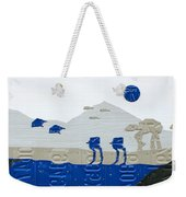 Hoth Star Wars Scene Panorama Made Using Vintage Recycled License Plates On White Wood Plank Weekender Tote Bag