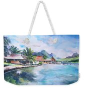 House By The Lagoon In French Polynesia Weekender Tote Bag