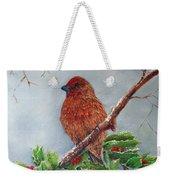 House Finch In Winter Weekender Tote Bag