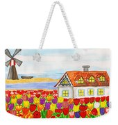House With Tulips  In Holland Painting Weekender Tote Bag