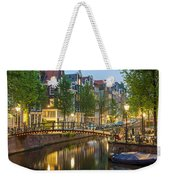 Houses Along Canal At Dusk Weekender Tote Bag