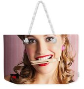 Housewife Doing Cleaning And Pin-up Laundry Chores Weekender Tote Bag
