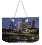 Houston Skyline Over Buffalo Bayou At Twilight Weekender Tote Bag
