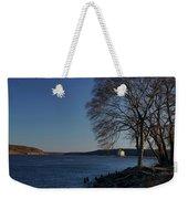 Hudson River With Lighthouse Weekender Tote Bag by Nancy De Flon